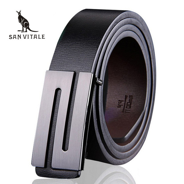 Men Belt Luxury Smooth buckle belts High quality buckles international famous brand Cowhide leather belts for men free shipping