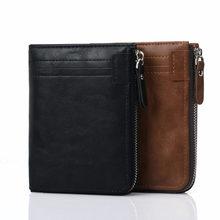 Mens Fashion Pu Short Wallet Cross-Border Korean-Style 2 Fold Zipper Poucht Male Coin Purse Card Holder Photo Wallets