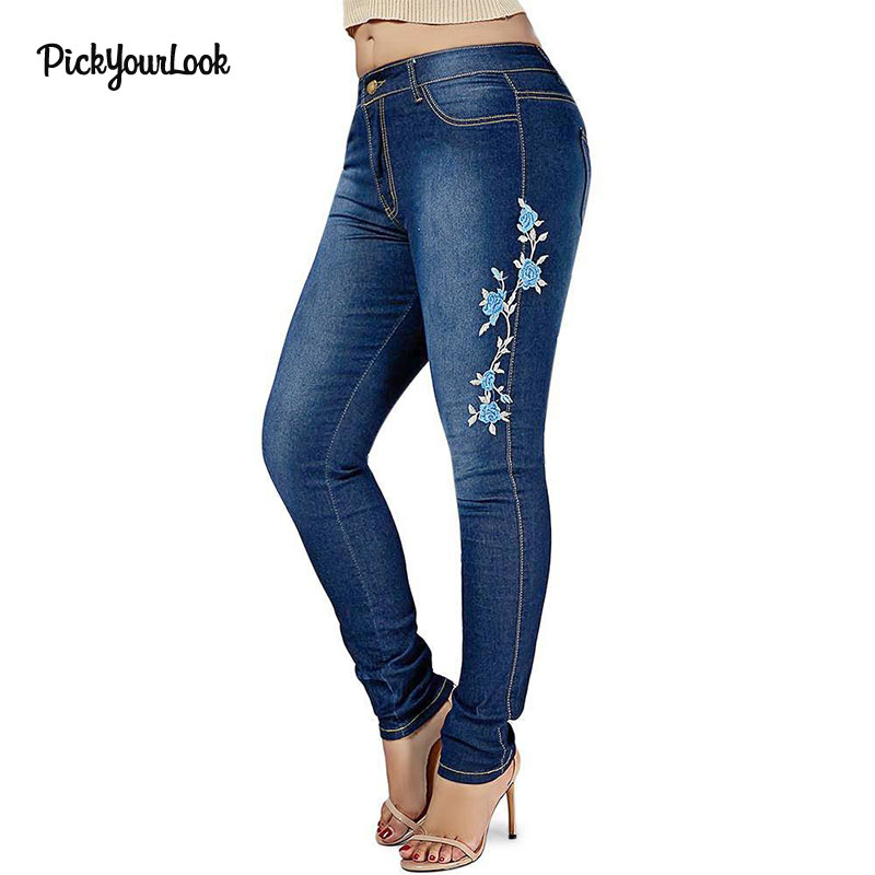 PickYourLook Blue Rose Embroidery Ladies Denim Fashion Softener Skinny   Jeans   Straight Button Fly Mid Waist Women Large Size 5XL