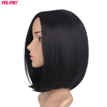 Feilimei Black Short Straight Wig 10Inch 160g African American Black Women Hair Extensions Syntetisk Ombre Bob Parykker