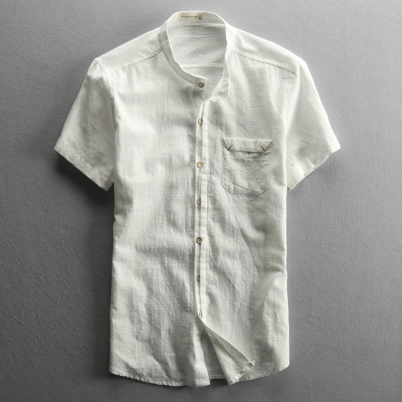 9f22e189783e Vintage style cotton linen mandarin collar short sleeve shirts men white  gray dark blue men's summer shirt with front pocket -in Casual Shirts from  Men's ...