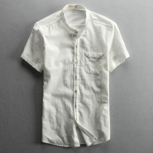 25da275e878 Vintage style cotton linen mandarin collar short sleeve shirts men white  gray dark blue men s summer