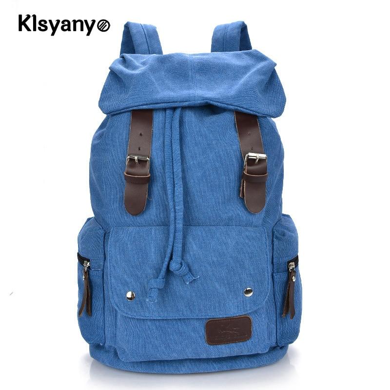 Klsyanyo Unisex Teenager Girls Boys Casual Canvas Drawstring Backpack Bagpack School Bags Large Capacity Mochila Masculina