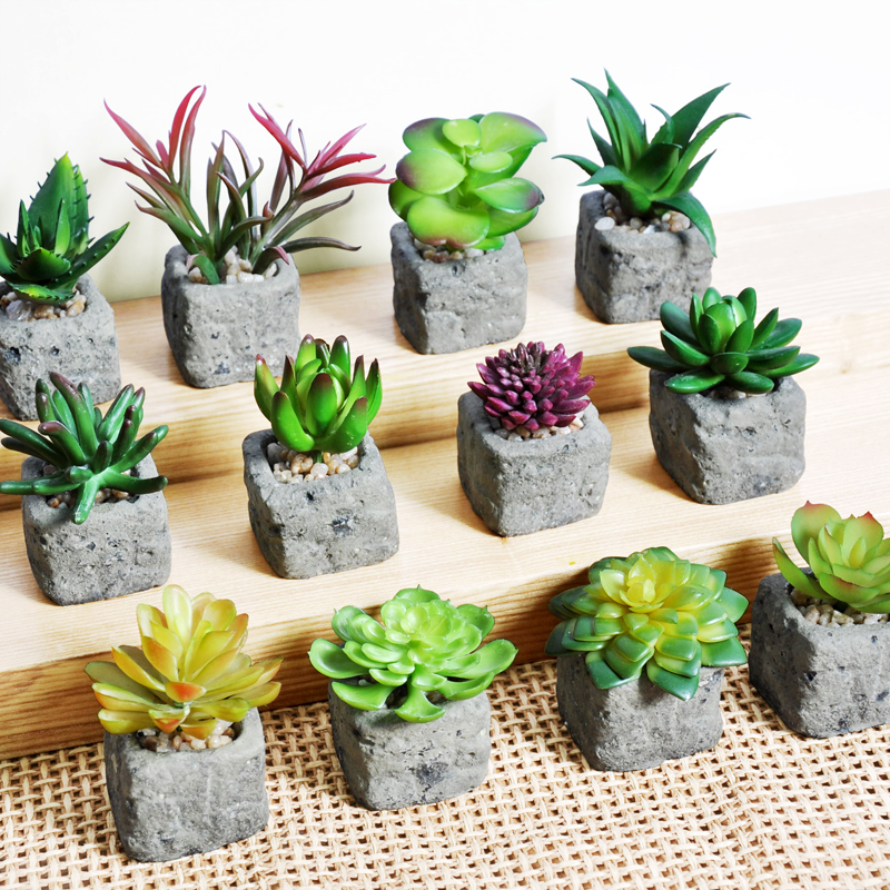 2017 Home decoration accessories Artificial Succulent Plants Mini potted bonsai Fake Flower Green Plant Garden ornaments gifts