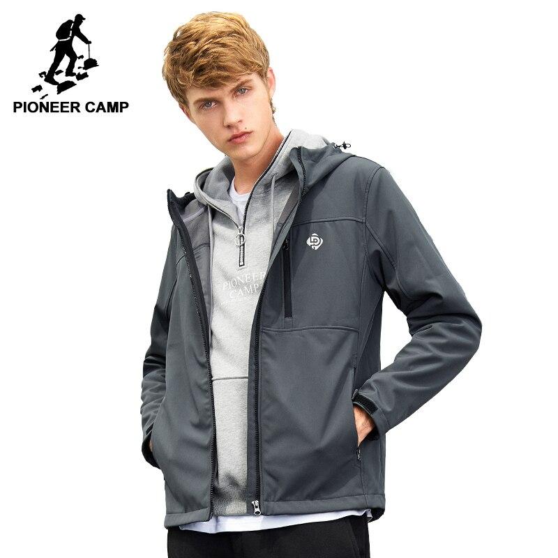 Pioneer Camp windbreaker do revestimento do revestimento dos homens da marca à prova d' água roupas primavera trecho de casca mole com capuz masculino outerwear AJK702379