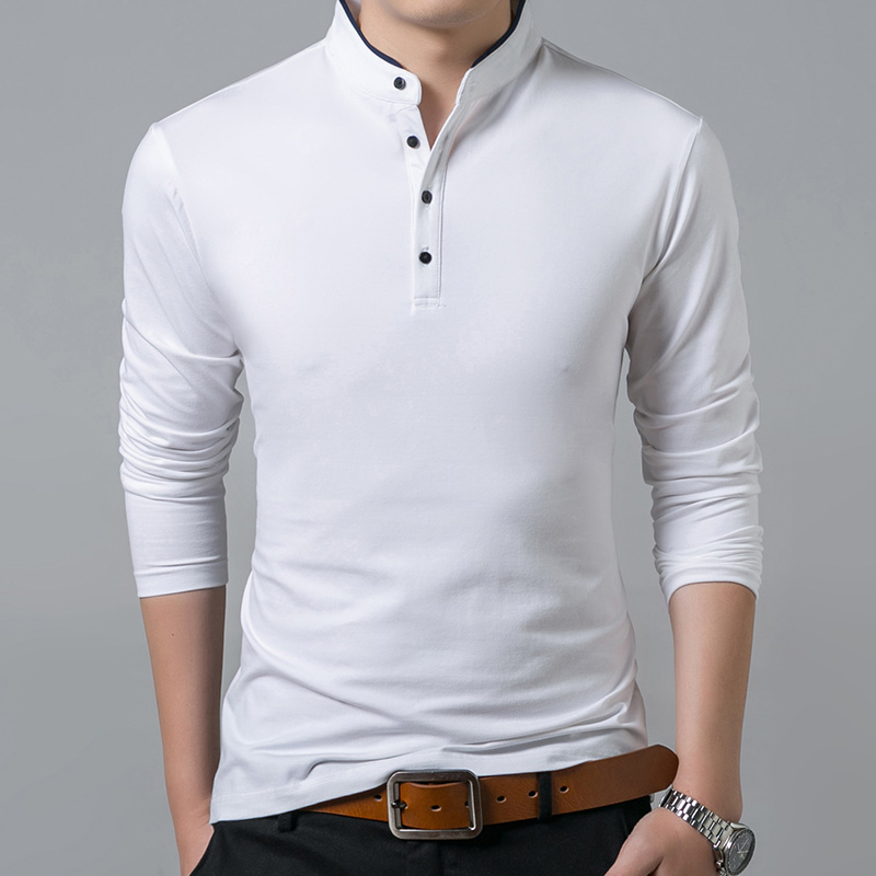 Liseaven T-Shirt Men Cotton T Shirt Full Sleeve tshirt Men Solid Color T-shirts tops&tees Mandarin Collar Long Shirt 7