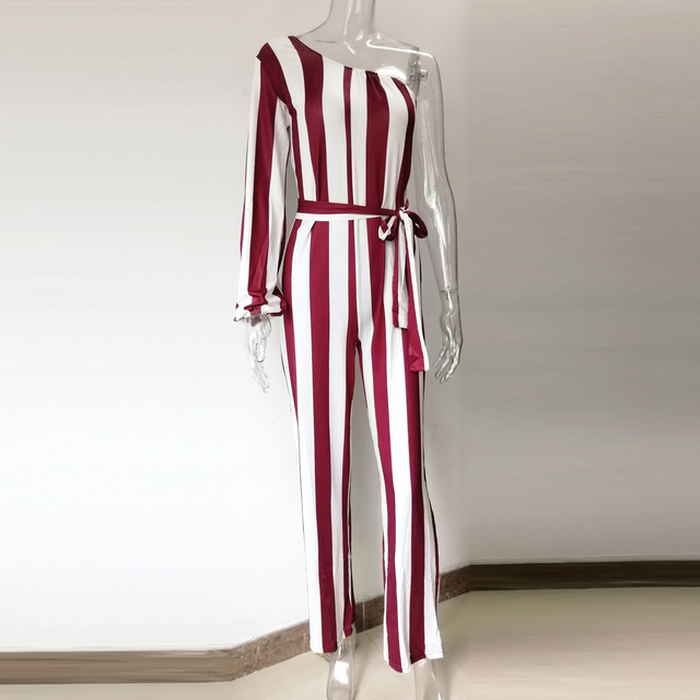 Sexy One Shoulder Striped Jumpsuit Women Summer One Piece Wide Leg Long Playsuit Elegant Office Party Rompers Overall Streetwear