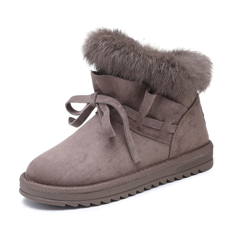 Warm Fur Women Snow Boots Cute Genuine Leather Winter Shoes Fur Ball Boots Female Fashion Boots Non-Slip Snow Casual Shoes lady short boots tassel fur warm winter wedges snow women boots shoes genuinei mitation casual knitting snow shoes z244