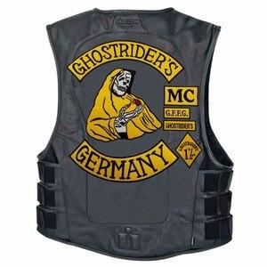 Image 5 - Mc1931 7 Stks/set Ghostriders Duitsland Geborduurde Patch Iron On Naai Terug Biker Rider Patch Voor Jas Vest Gratis verzending