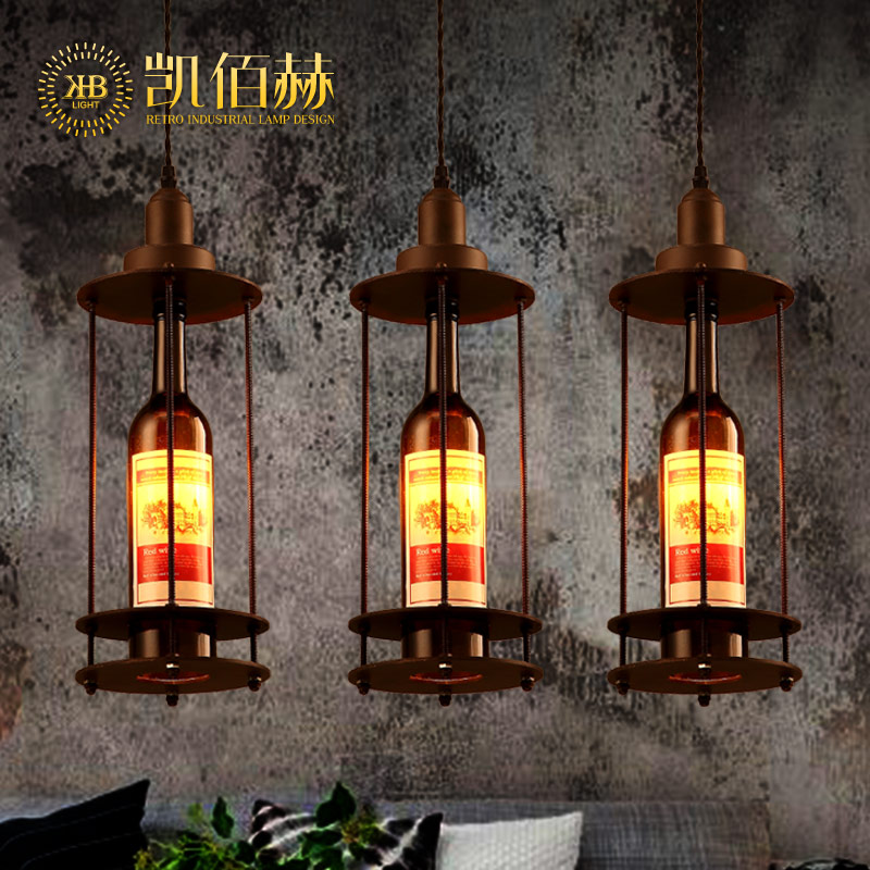 ФОТО Wine Bottle Style Pendant creative retro industrial style American style Cafe Restaurant single head wine bottle lamp