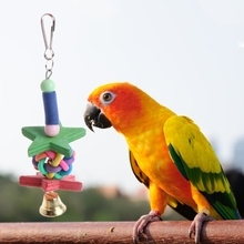 Pet Bird Natural Woods Birds Parrots Colorful Toys Chew Bite Hanging Cage Star Ball Bell Shape Beads Blocks Toy