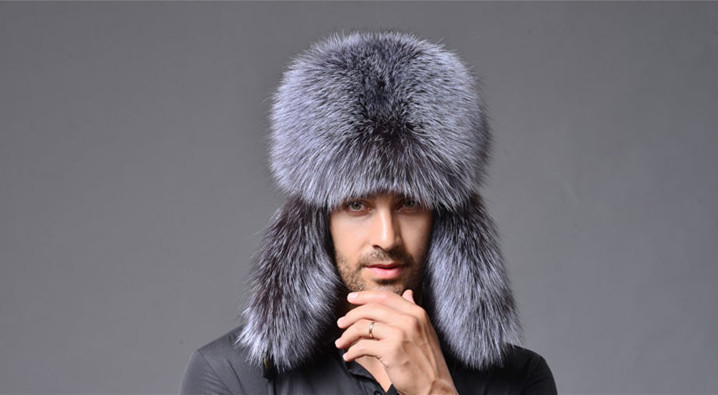 Genuine fox fur fox fur hat winter hat ear Lei Russian male silver fox raccoon hat factory wholesale free shipping