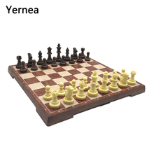 Yernea Chess Set Magnetic Folding Chessboard Plastic Chess Pieces Magnetic Chess Games Checkerboard Board Game Entertainment high quality chess magnetic mini portable plastic chess set board games for friends children s