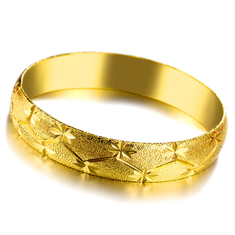 Shining Open Bangle Women Vietnam Alluvial Gold Bracelet Carved Flower Wedding Jewelry Party Gift