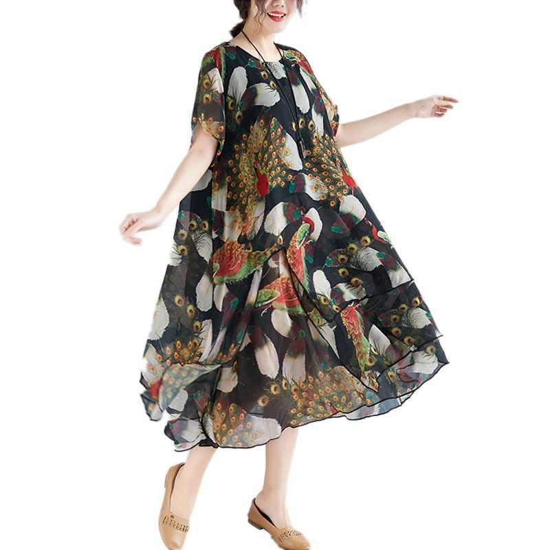 c2310584a3e6 DIMANAF Plus Size Women Print Dresses Vintage Elegant Lady Vestidos Chiffon  Beach Dress Summer Sundress Loose