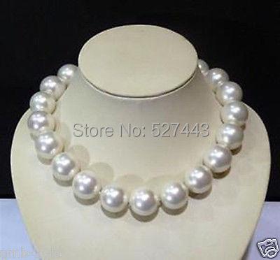 Gros > > RARE énorme 20 MM véritable mer blanche sud SHELL perles rondes GEMS collier 18