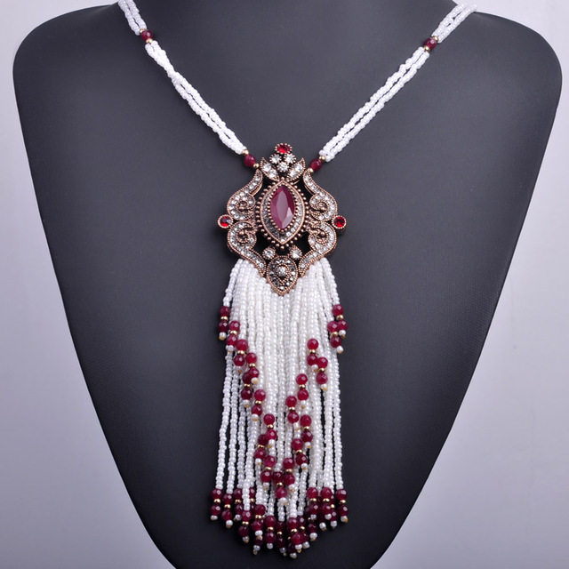 Turkish Royal White Beads Tassel Necklace Bohemia Big Long Pendant Necklace Gold Plated Vintage Statement Necklace For Women