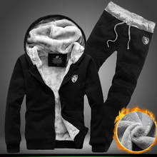 2016 new autumn/winter plus velvet warm hoodie sweat pants suit (coat+pants) male and female models fashion solid color