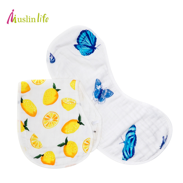 Muslinlife 6layers Baby Burpy Bib Muslin Cloth,Bamboo Cotton Soft Absorbent 6 Layers Baby Newborn Bibs,Multi-Use Burp Cloth