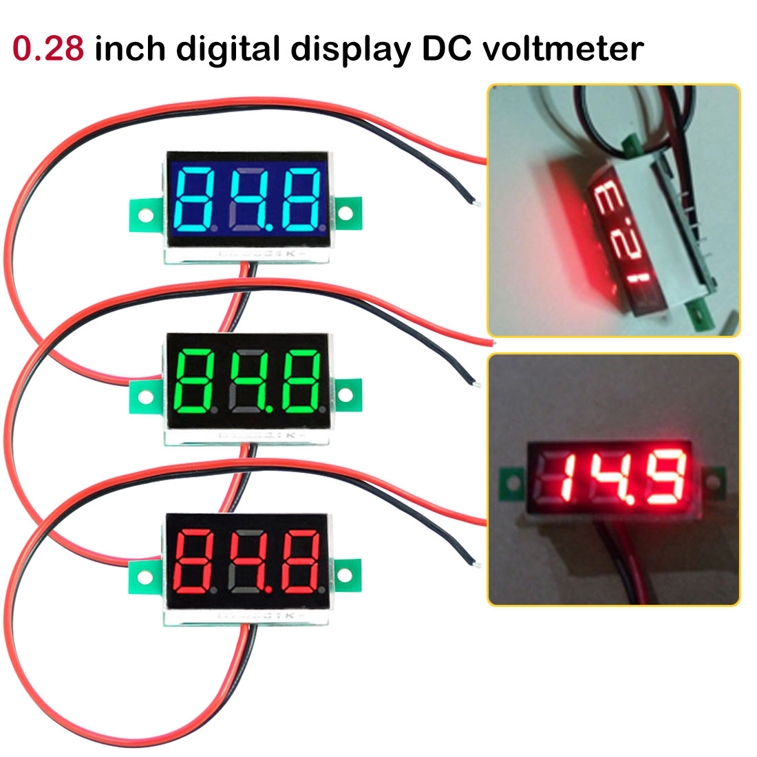 Mini LCD Digital Voltmeter Voltage Meter Panel Volt Tester Detector Monitor 2Wire Red Green Blue Yellow LED 0.28inch DC 2.5-30V