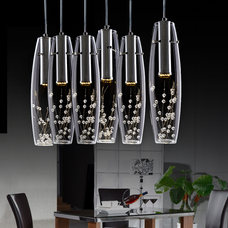 Modern Creative Fashion Luxurious K9 Crystal Glass Led Pendant Light For Dining Room Bar 1/3 Heads 1976 modern fashion luxurious rectangle k9 crystal led e14 e12 6 heads pendant light for living room dining room bar deco 2239