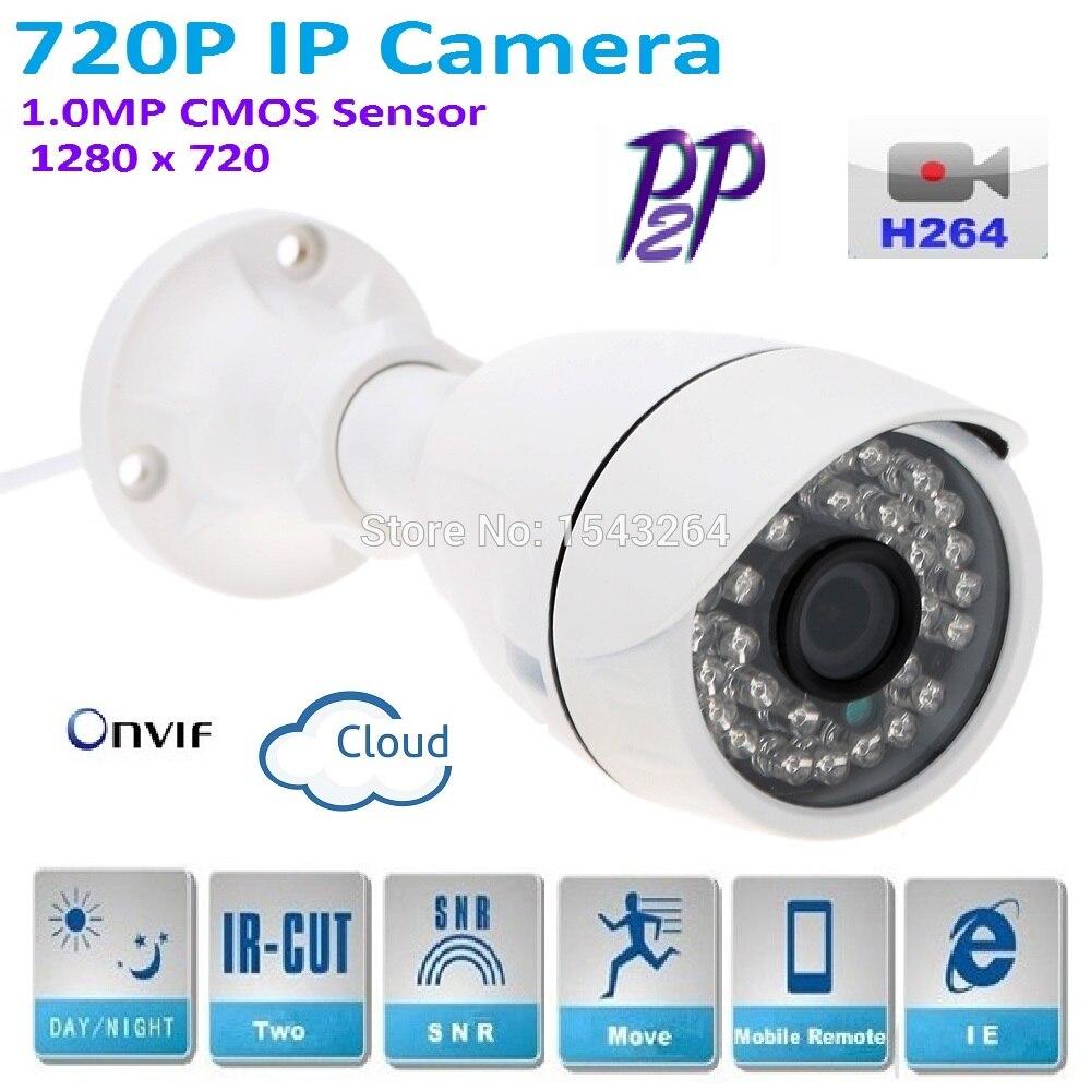 2017 New 1280*720P H.264 1.0 Megapixel HD ONVIF IP Camera P2P Warterproof Indoor  IR-CUT Night Vision Network bullet Camera brand new dmd chip 1280 6038b 1280 6039b 1280 6138b 6139b 6338b