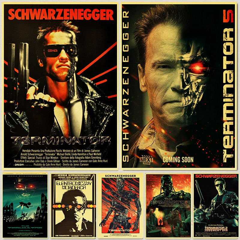 Retro Posters And Prints Classic Movie The Terminator Home Room Wall Decoration Vintage Poster Paintings Printed Wall Decor