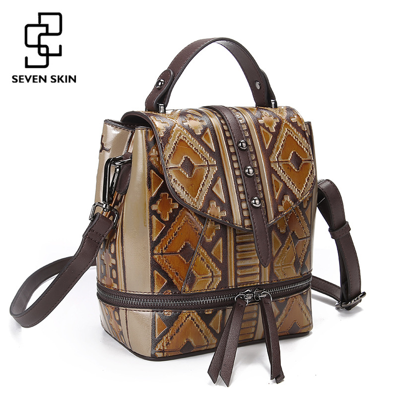 SEVEN SKIN Brand Women Luxury Backpack High Quality Genuine Leather Bag Female Vintage Designer Back Pack Small Mini School Bags yjgjz house fashion serpentine women leather backpack luxury brand designer back bag for teenager girl high school students bag