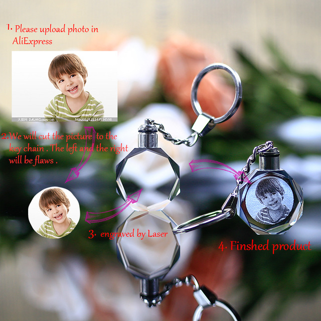 Colorful Crystal Love Keychain Photo LED Light Key Ring 2