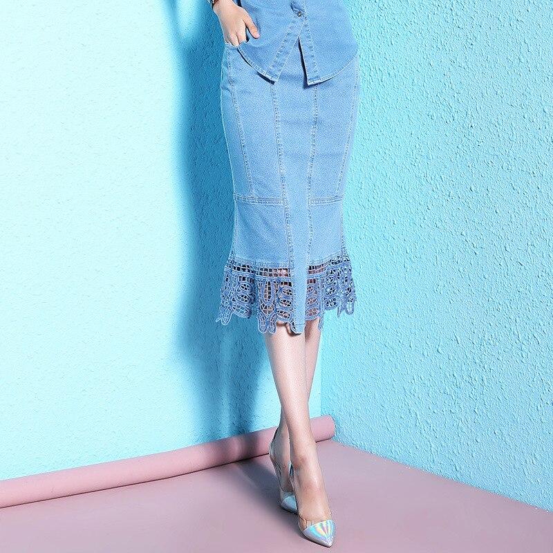 Summer stylish denim skirts stitching lace skirt overknee large size women step skirts NW18B2610