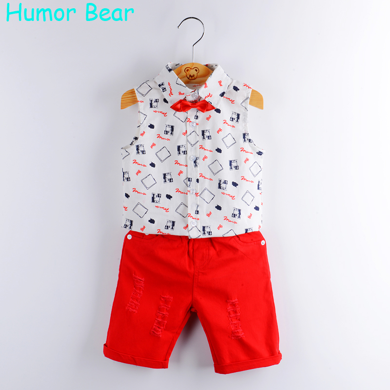 Humor Bear Baby Boy Clothes 2017 New Summer Kids Clothing Sets Print Shirt+Red Pants+Belt 3Pcs for Boys clothing set