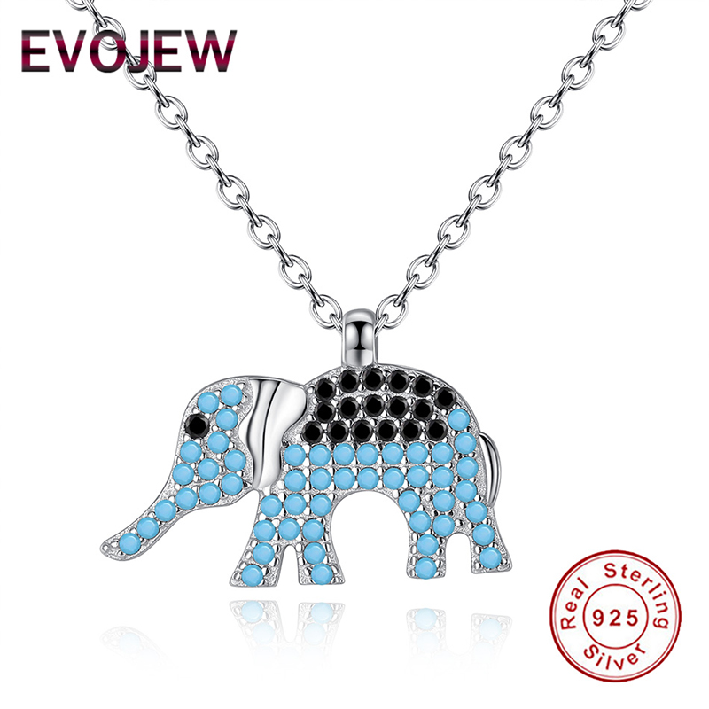 EVOJEW 2019 New Arrival 100% Real 925 Sterling Silver Vintage Ethnic Elephant Pendant Necklaces For Women Silver Fine Jewelry
