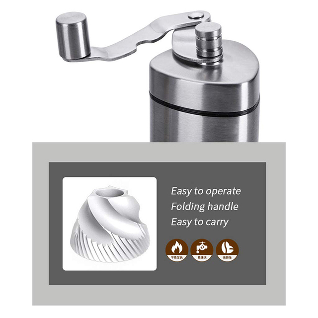 Manual Coffee Grinder - Premium Portable Stainless Steel Conical Ceramic Burr Mill With Quiet Grinding Mechanism, 40G Capacity 4