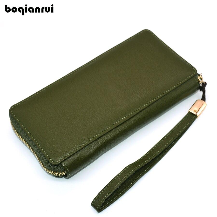 BoQianRui en cuir véritable femmes portefeuille mode solide femmes sac à main longue porte-monnaie pochette à fermeture éclair sac à main en cuir de vache portefeuilles Standard