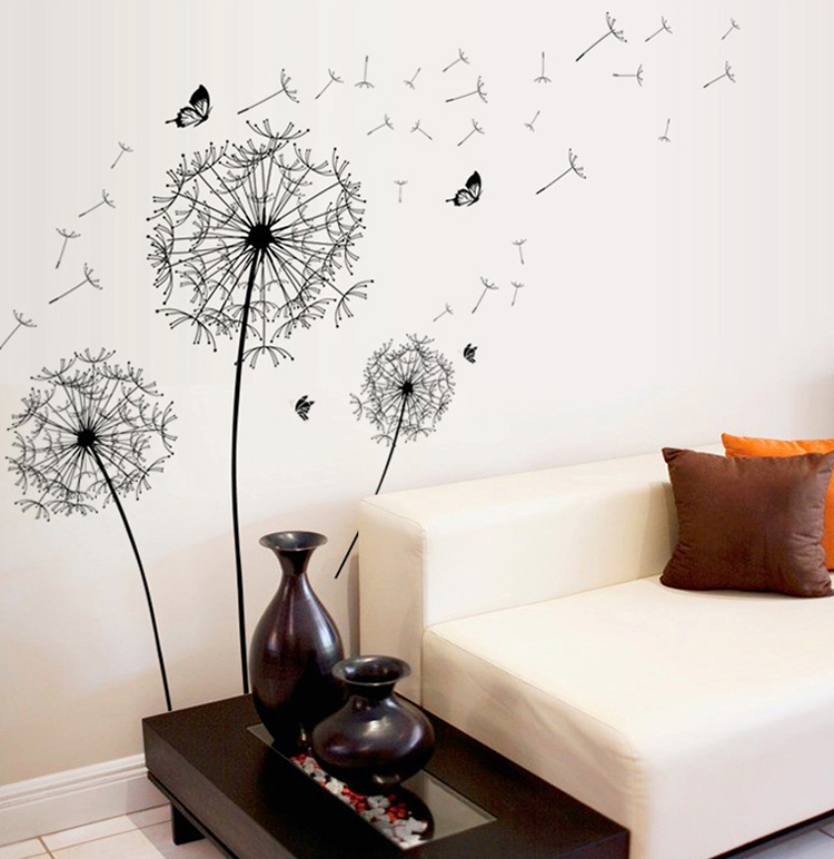 New Dandelion Butterflies Large Wall Decal Home Decor Living Room Diy Art Mural Removable Wall Stickers