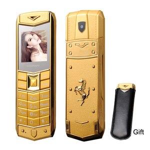 Image 1 - Mafam a8 russo árabe espanhol francês vibração luxo metal corpo logotipo do carro duplo sim telefone móvel com caso de couro presente p234