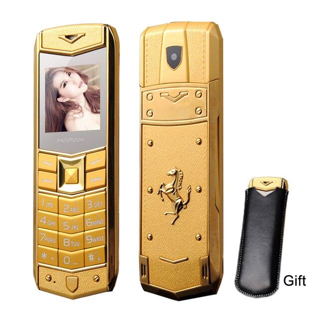 Mafam a8 russo árabe espanhol francês vibração luxo metal corpo logotipo do carro duplo sim telefone móvel com caso de couro presente p234
