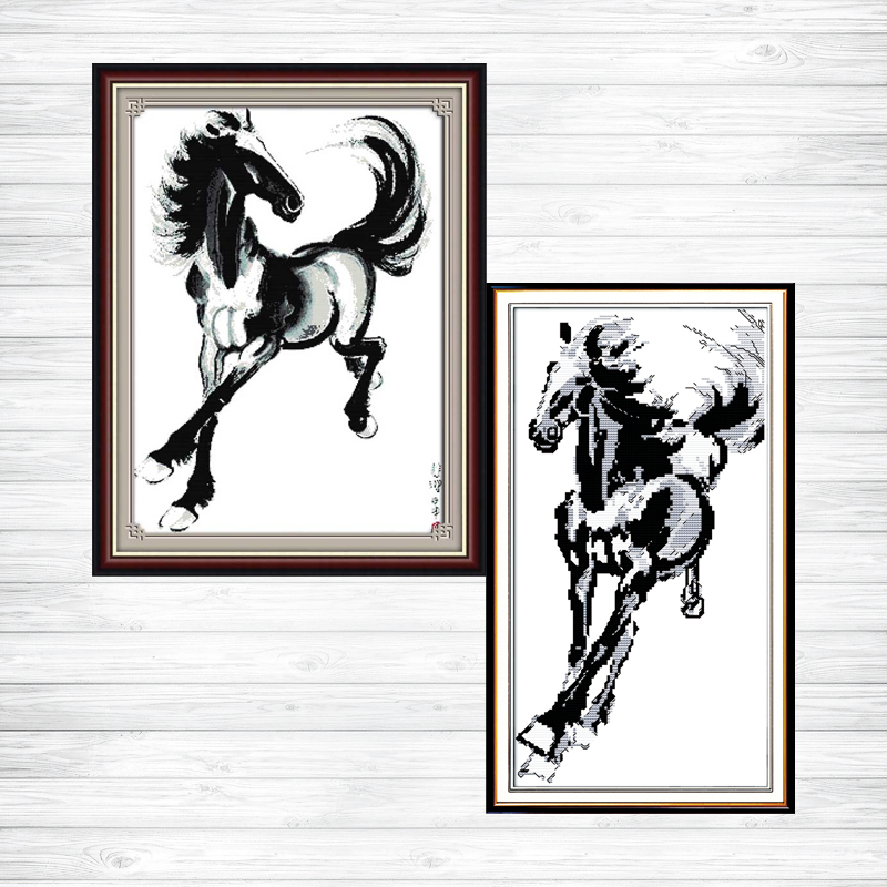 A galloping horse decor picture counted print on canvas DMC 14CT 11CT Cross Stitch diy chinese Embroidery kits Needlework Se image
