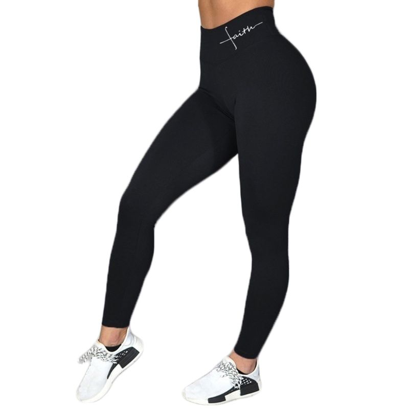 Women Faith Letter Print Wide Waistband Fitness Leggings Sexy Butt Lift High Waist Yoga Pants Workout Tummy Control Sport Tights