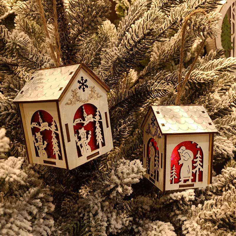 Christmas Wooden Night Light Snowman Elk Bell Night Lights Xmas Lantern Decor QP2