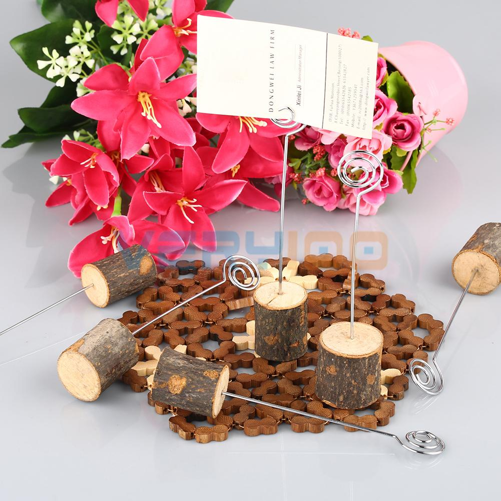 6pcs natural wood base name table number menu place card holder rustic wedding free shippingin party diy decorations from home u0026 garden on