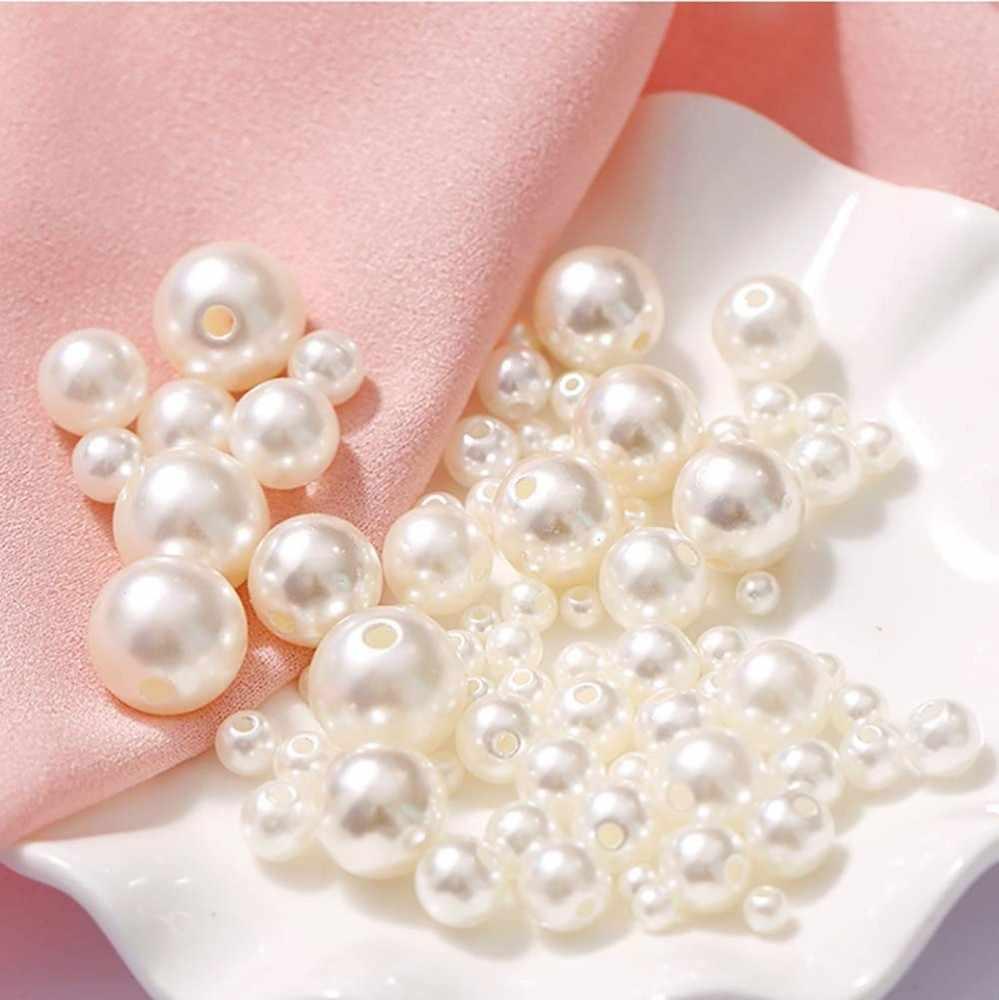 2000 Chiếc Kích Thước Hỗn Hợp Vòng Hạt Ngọc Trai Có Lỗ Nhiều Màu Ngọc Trai Tròn Acrylic Giả Ngọc Tự Làm Cho Trang Sức Làm Không Gian Siêu Tốc hạt