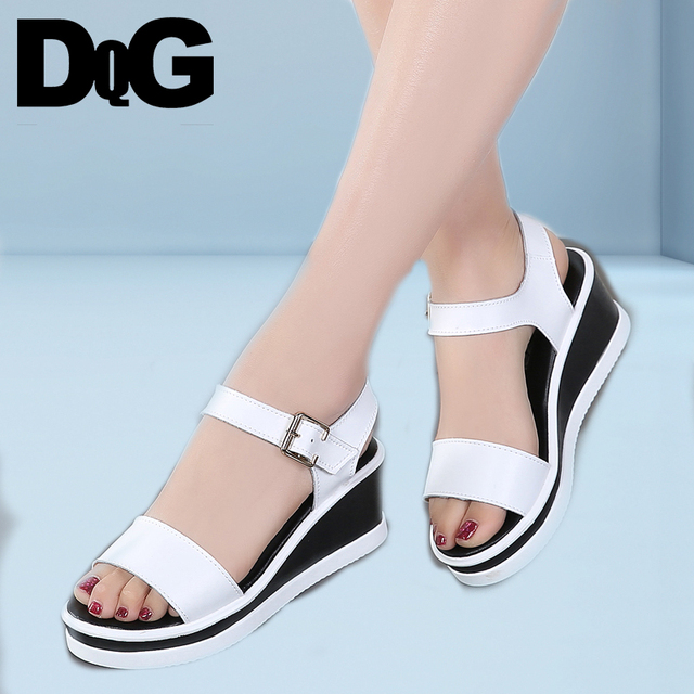 f8e0cc962ea DQG 2018 Summer Women Sandals White Wedge Sandals Platform Sandalias Ladies  Black Flat High heel Buckle Sandals Women