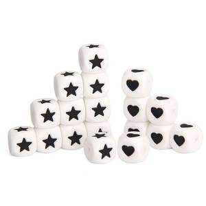 Image 5 - Fkisbox 12mm 100pcs Number Silicone Cube Beads Heart Star Bpa Free Baby Teething Necklace Babies Teether DIY Combined Birthday
