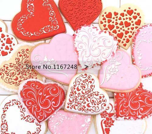 4pcs / Lot (3pc Stencil + 1pcs Cookies Cutter) Ürək - Mətbəx, yemək otağı və barı - Fotoqrafiya 4