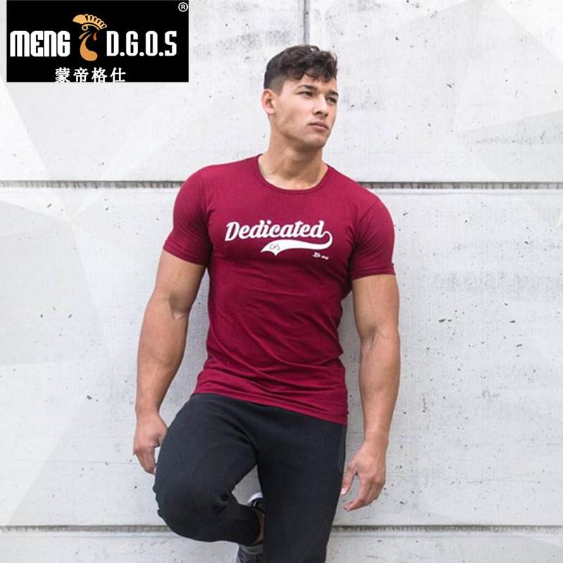 Mens sommar gym t shirt Fitness Bodybuilding Bomull Skjortor - Herrkläder
