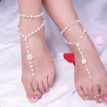 AOJUN Pearl Anklets Beach Wedding Barefoot Sandals Stretch Anklet Chain Footless for Women Bridal Foot Jewelry Jewellery JL55U