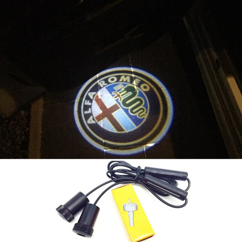 2x LED Car Door Projector Logo Welcome Light For Alfa Romeo Brera Giulietta GT Mito Spider Sportwagon 159 147 159 156 164 166 4C
