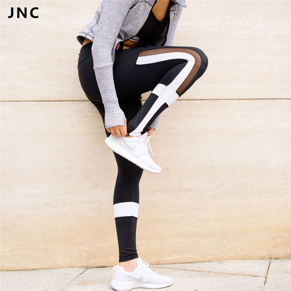 Prix pour JNC Dropshipping Femmes Noir & Blanc Couleur Contraste Sport Yoga Pants Voir À Travers Maille Vêtements D'entraînement pour les Femmes Collants Running