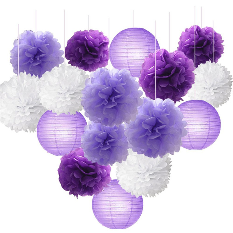 16pcs Tissue Paper Flowers Ball Pom Poms Mixed Paper Lanterns Craft Kit for Lavender Purple Themed Party Decor Baby Shower